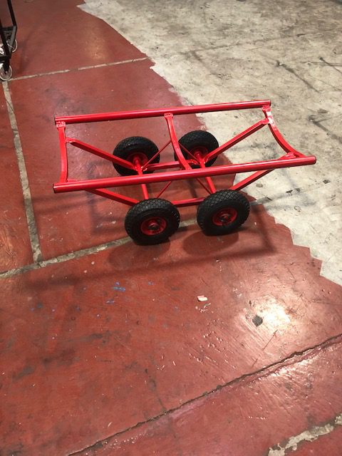 4 Wheel Carpet Trolley on 4 x 200mm solid rubber with brakes Carpet Stands
